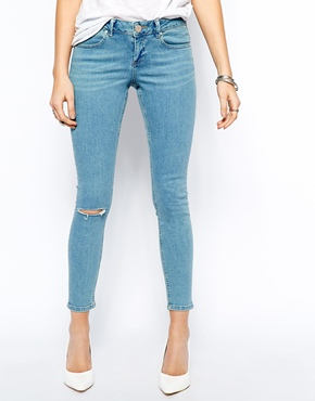 ASOS | ASOS Whitby Low Rise Skinny Ankle Grazer Jeans in California Light Wash with Ripped Knee at ASOS