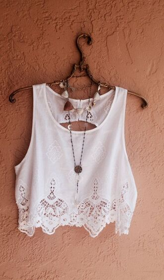 top tank top clothes crochet cropped nacklace cute cropped tank top fashion trendy boho white boho top