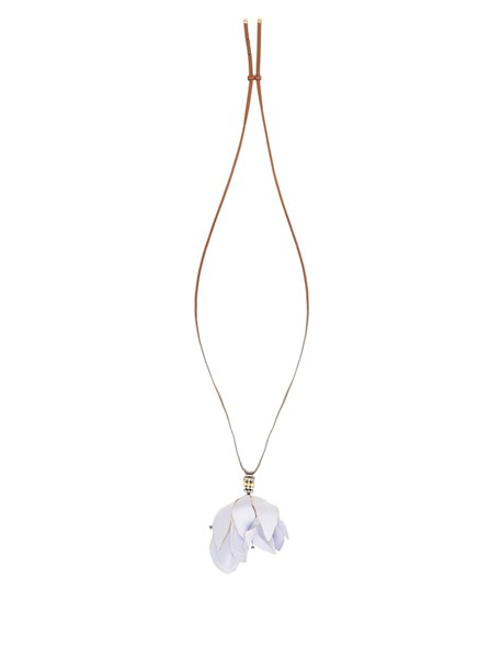 MARNI necklace pendant floral leather blue jewels