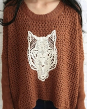 rust,knitted sweater,lace,fox,sweater