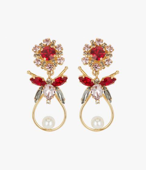 Crystal Bee Drop Red Earring