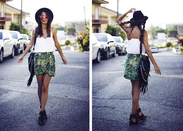 mexiquer sunglasses hat t-shirt skirt bag shoes