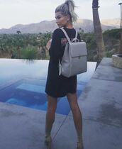 bag,backpack,hailey baldwin,model off-duty,boots,oversized t-shirt,oversized,black,t-shirt dress