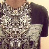 jewels,silver,necklace,tribal pattern,blouse,big necklace,neck piece