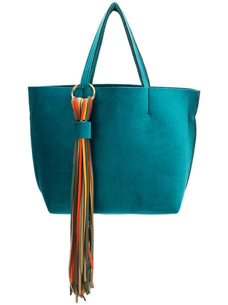 Alila tassel women bag tote bag blue velvet neoprene