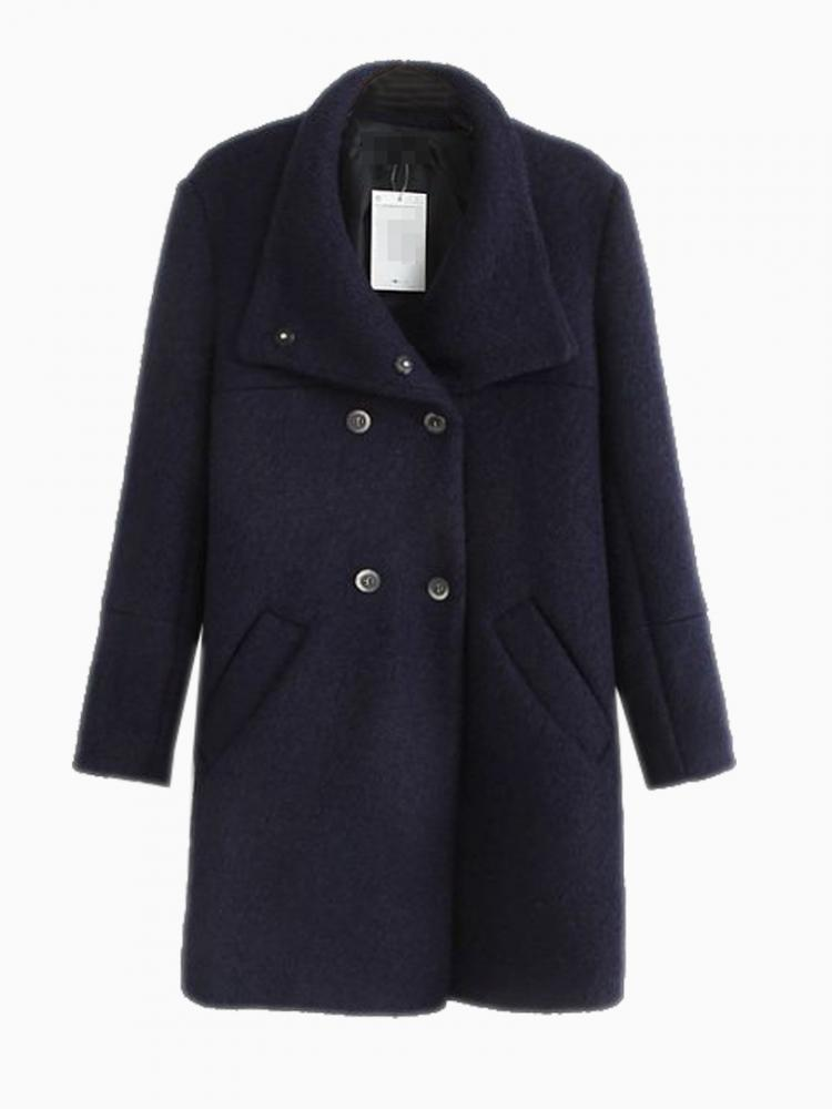 Oversize Longline Coat In Blue | Choies