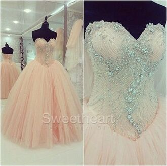 dress peach ball gown