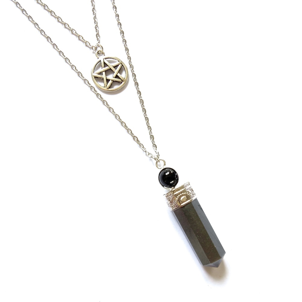 Pentacle & hematite point pendulum layered necklace