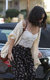 pants,vanessa hudgens,cherry,knitwear,winter outfits,fall outfits,casual,girly,top,sweater,cardigan,lace,pretty,white,bag,satchel,leather satchel,shirt,bralette,sunglasses,cream,indie,hipster,tank top