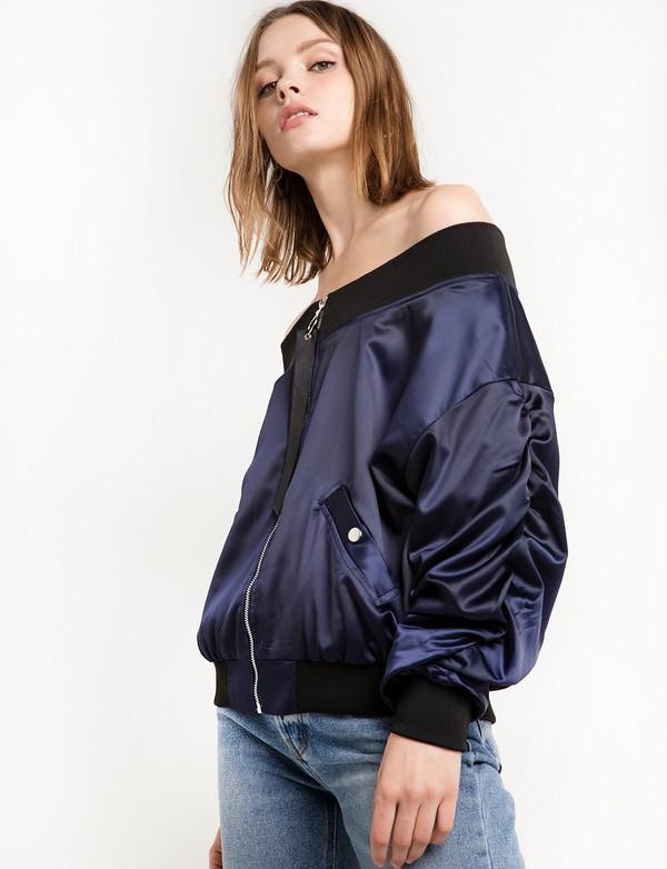 jacket navy crop ots bomber jacket Navy jacket off the shoulder jacket satin jacket 36683 off the shoulder satin bomber navy blue jacket bomber jacket oversized jacket