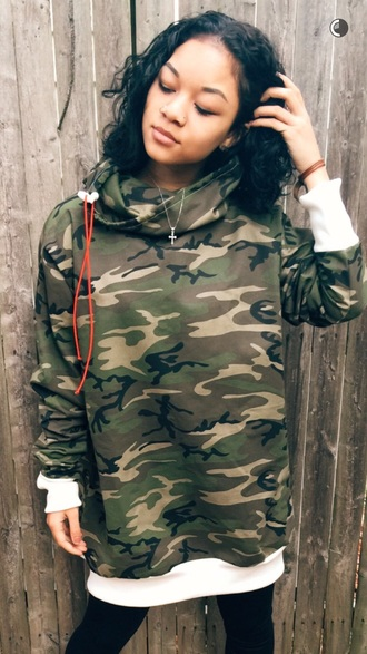 sweater kehlani jeans t-shirt wolftyla camouflage ripped jeans