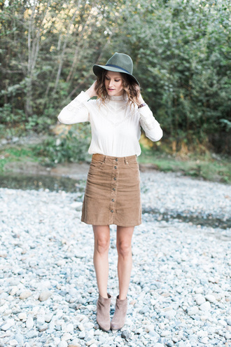 styling my life blogger fedora button up skirt fall outfits