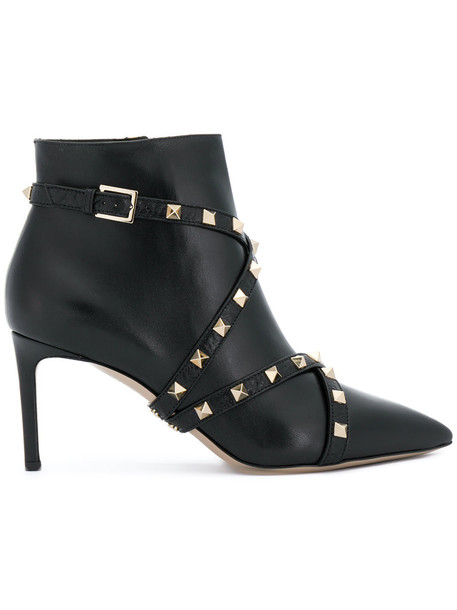 Valentino women ankle boots leather black shoes