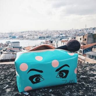bag zoella blue makeup bag makeup bag eyes polka dots turquoise