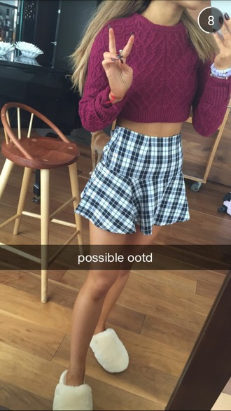 dress ariana grande skirt cardigan slippers sweater maroon/burgundy plaid skirt