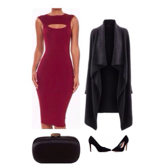 dress burgundy fashion midi bodycon fall outfits