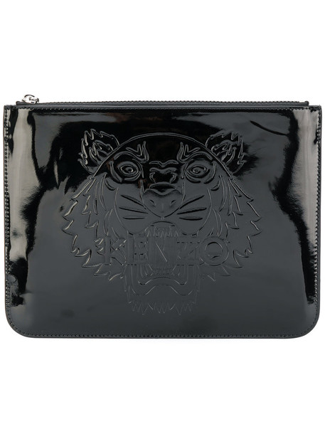 Kenzo women tiger clutch leather cotton black bag