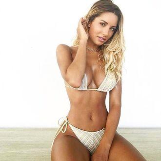 swimwear white gold bikini neutral tie side swimsuit swimwear two piece