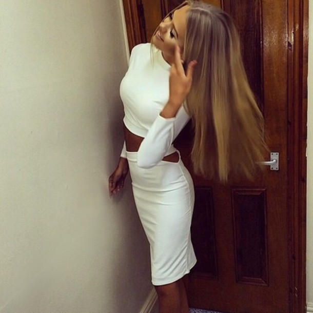 dress all white everything pretty two-piece lithuania long hair www.ebonylace.net