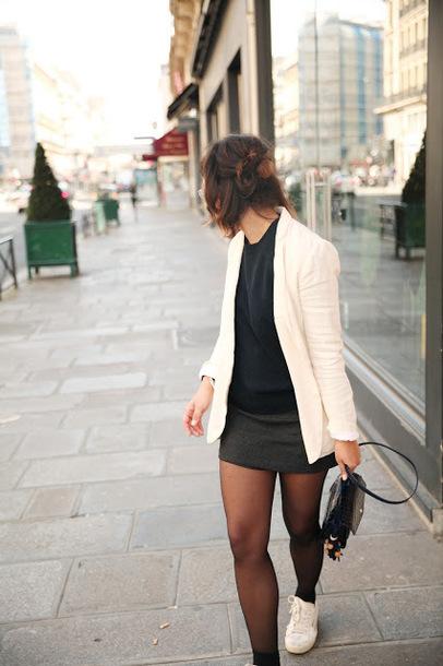 trop rouge blogger jacket sweater skirt shoes bag blazer shoulder bag mini skirt spring outfits