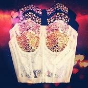 top,bustier,crop tops,gems,sequins,lace