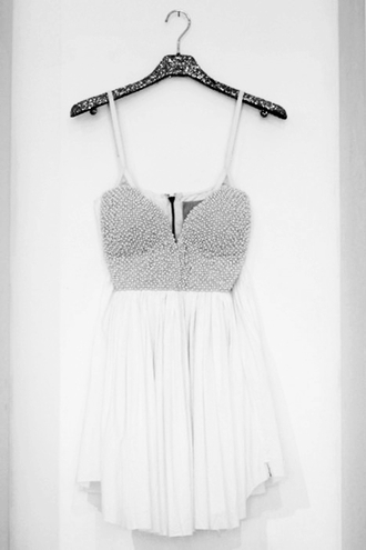 dress sequin dress silver white dress prom silver beading homecoming dress prom dress spagetti straps sweatheart neckline deep neckline white dress girl clothes sparkle dequin short silver and white cute straps floaty dress spikes silver spikes edgy