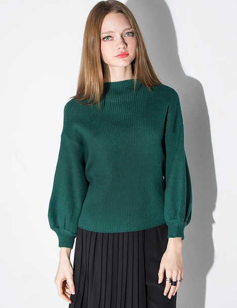 5c29b2cbe19228 sweater, green ribbed balloon sleeve sweater, ribben balloon sleeve ...