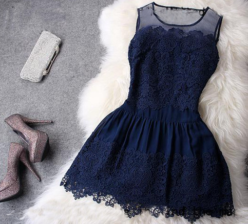 Blue lace hollow out hook skirt / retro dress · girlfriend · online store powered by storenvy