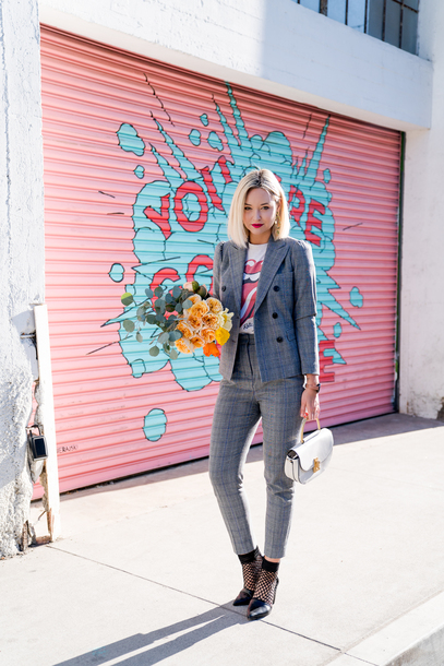 late afternoon blogger jacket pants top shoes jewels bag suit blazer grey jacket grey pants the rolling stones