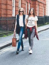 a cup of style,blogger,bff,grey jeans,graphic tee,vest