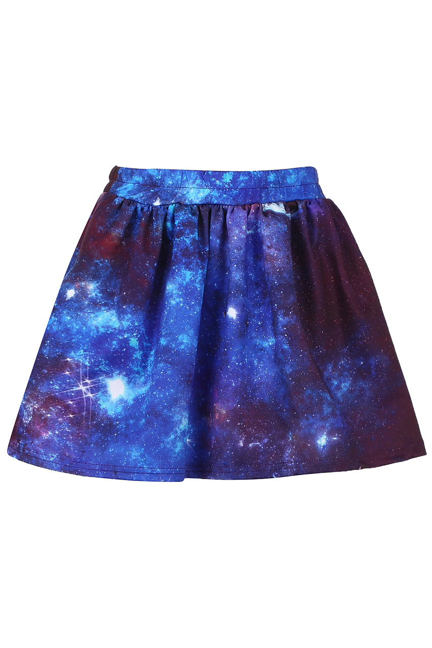 Dark universe print elastic skirt, the latest street fashion