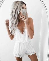 jumpsuit,freevibrationz,emily rose hannon,white,lace,white lace,white lace romper,bride,bachelorette party,low cut,bohemian,pretty,white onesie,white jumper,free vibrationz,white romper