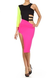 neon,neon pink,green,pink dress,black,dress,sexy dress,sexy,ribbed bra top,fashion
