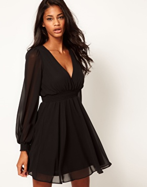 ASOS | ASOS Wrap Dress With Long Sleeves at ASOS