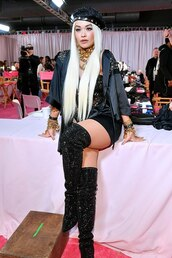 shoes,glitter,glitter shoes,rita ora,celebrity,victoria's secret,robe,over the knee