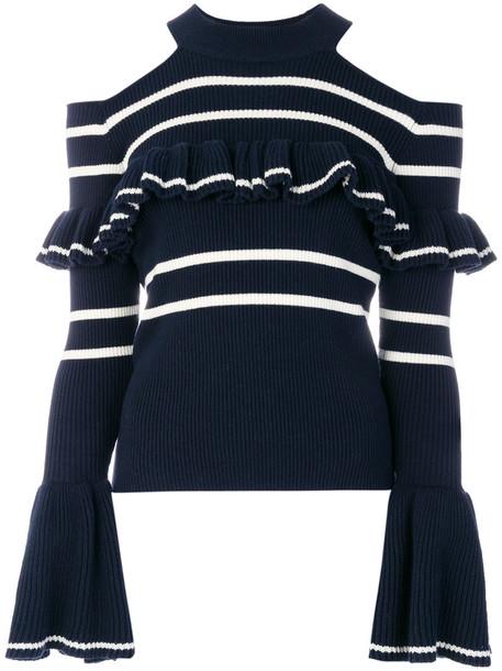 self-portrait jumper women spandex cold cotton blue wool sweater