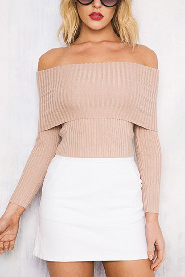 Pink Off Shoulder Long Sleeve Sexy Pullover Sweater
