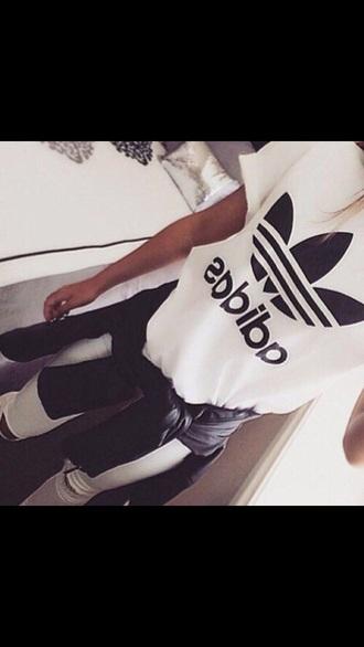 shirt adidas white black girl style pretty musthave streetstyle streetwear jennifer lawrence