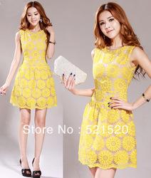 2013 nuevas promociones caliente de moda acogedor moda mujer ropa casual sexy vestido de organza bordado de