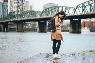 the mop top blogger coat camel coat backpack nike sneakers