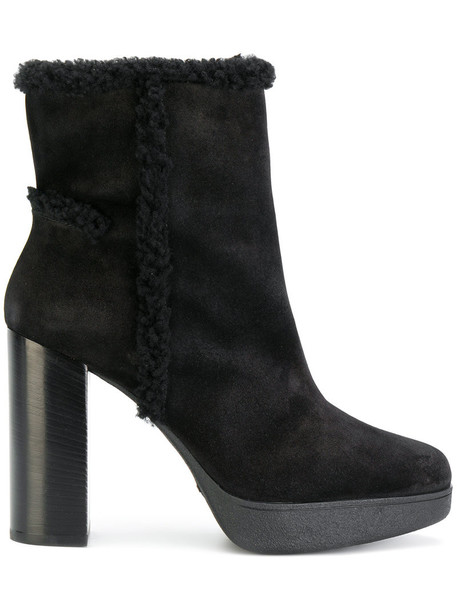 TOD'S women ankle boots leather black wool shoes