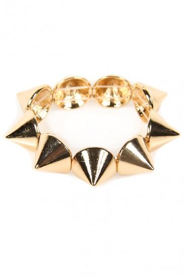 LoveMelrose.com From Harry & Molly | Large Spike Bracelet -Gold