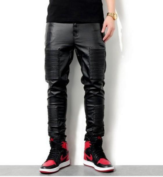 pants pants black cuir noir dope boy menswear hype mens pants