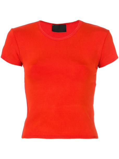 Andrea Bogosian t-shirt shirt t-shirt women spandex red top