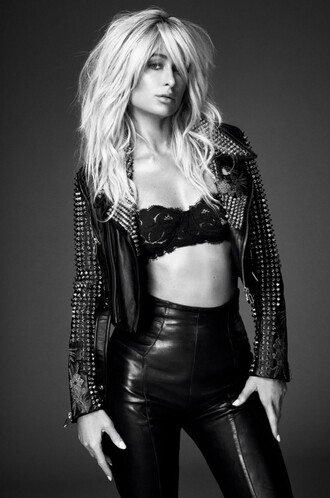 underwear bra jacket biker jacket high waisted high waisted pants paris hilton editorial