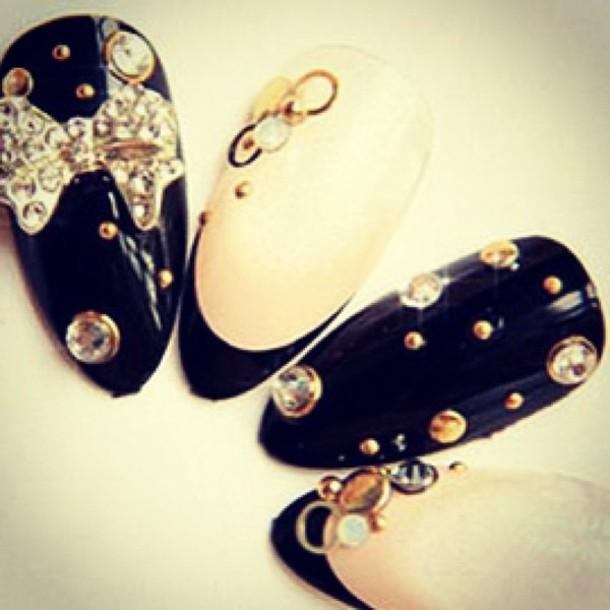 nail polish black gold jewelry bling