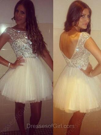 dress a-line scoop neck tulle skirt short mini beading prom dress