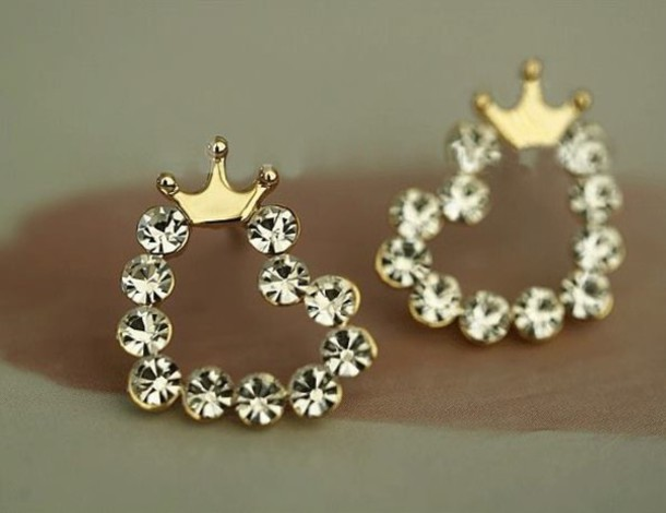jewels earrings diamonds princess crown pink gold ring crown rings jewerly  stylish heels swag