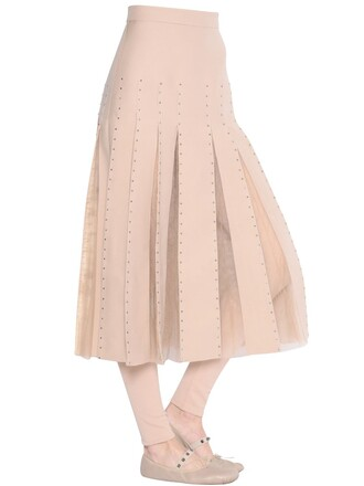 skirt tulle skirt embellished couture nude