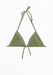 swimwear,bikini,bikini top,green,cut out bikini,dark green,olive green bikini,triangle bikini